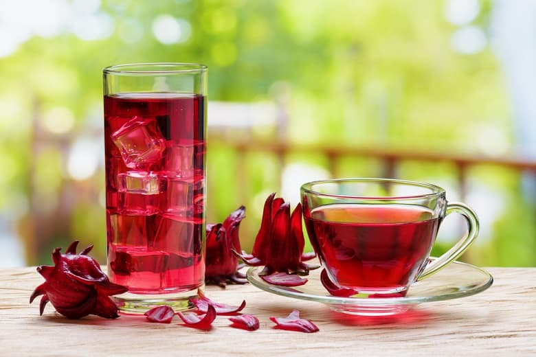 Cup of hot hibiscus tea