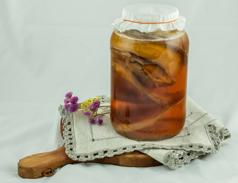 Healthy homemade fermented raw kombucha tea with different flavorings,