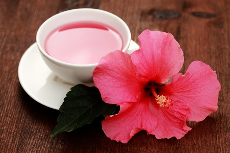 cup of hibiscus tea with beauty flower