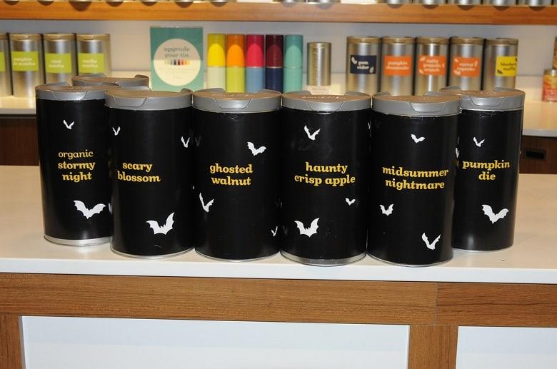 Assortment of tea tins from David`s Tea in Halifax