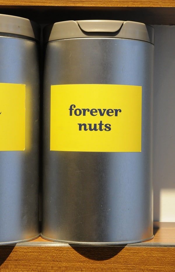 Forever nuts tin tea can from David`s Tea in Halifax.