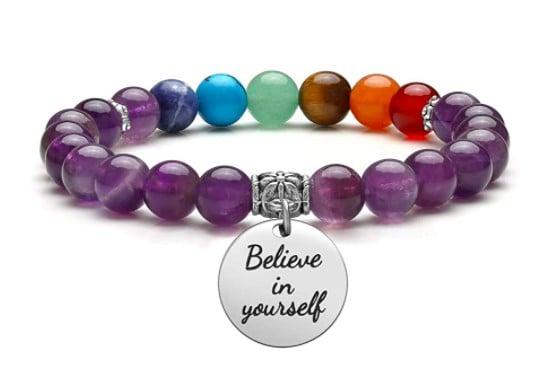 Purple Chakra Bracelet With Chain Detail