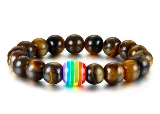 Dark Brown Chakra Beads With Rainbow Detail