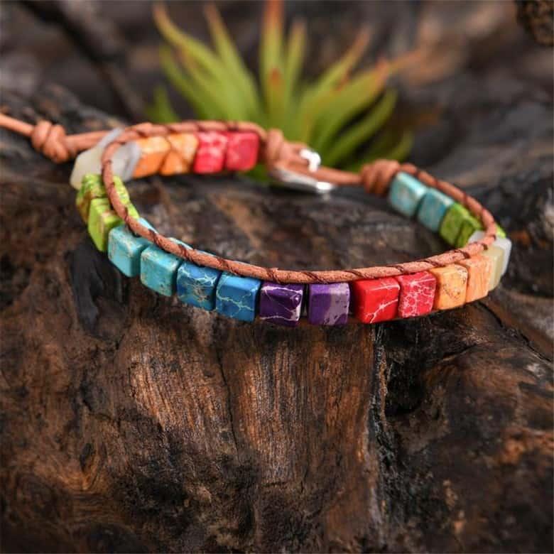 Colorful Square Shaped Chakra Bracelet