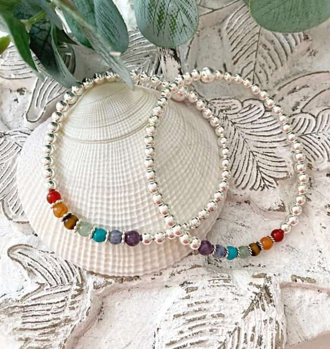 White/Silver Bracelet With Colorful Chakra Stones