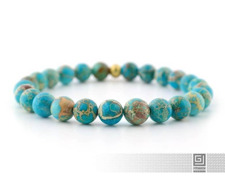 Teal Oval Shaped Planet Earth Inspired Chakra Bracelet