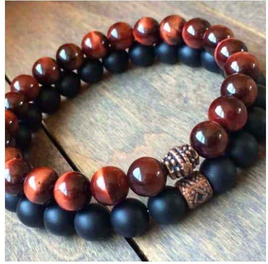 Dark Brown And Black Duo Chakra Bracelet Set