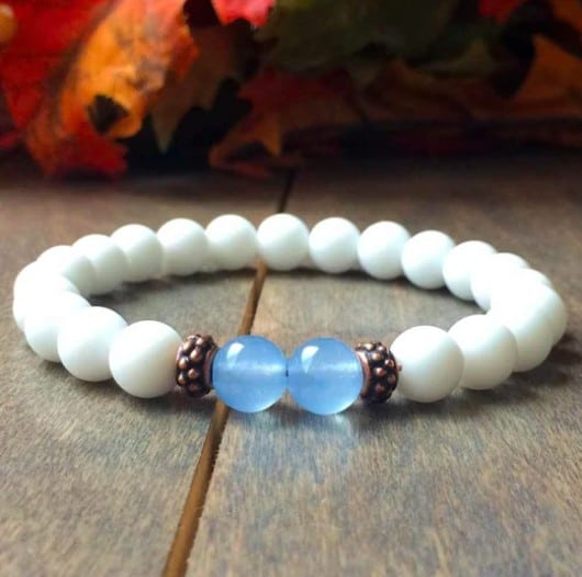 White And Blue Chakra Bracelet Simple Design