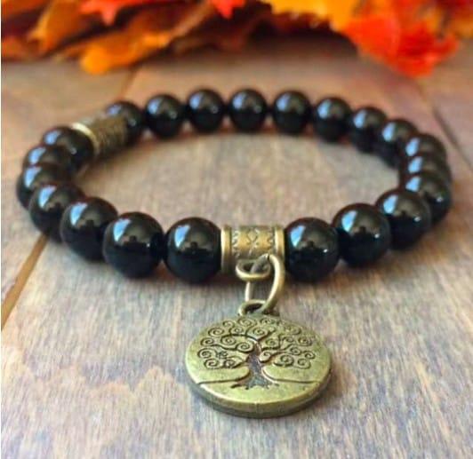 Dark Brown And Black Bracelet With Golden Detail