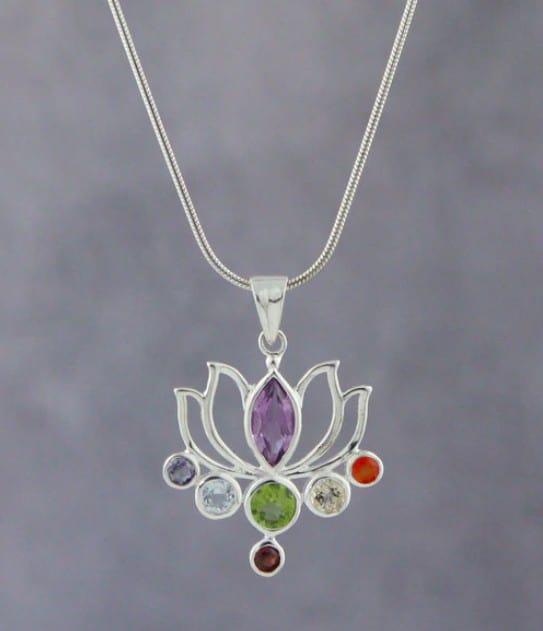Flower Shaped Silver Chakra Pendant