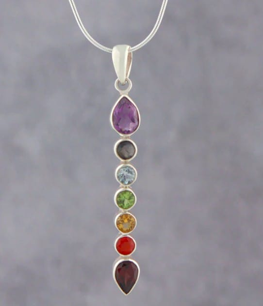 Unique And Unusual Silver Chakra Necklace With Loads Of Gems