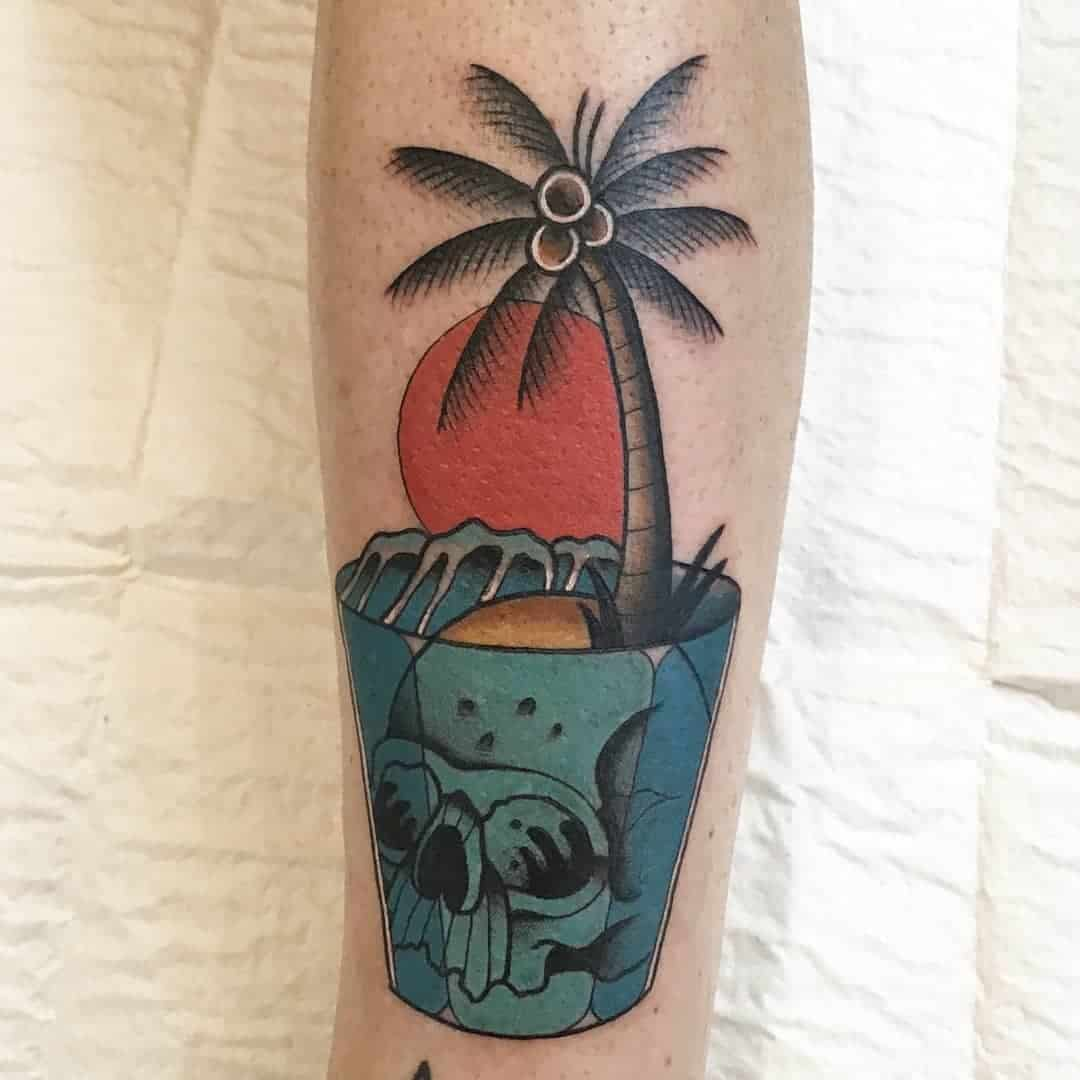 Palm tree and sunset tattoos 1