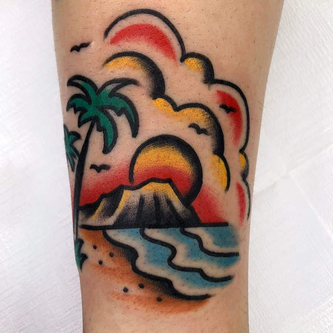 Palm tree and sunset tattoos 2