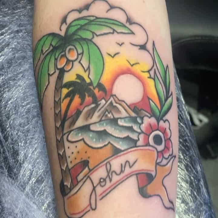 Palm tree and sunset tattoos 3