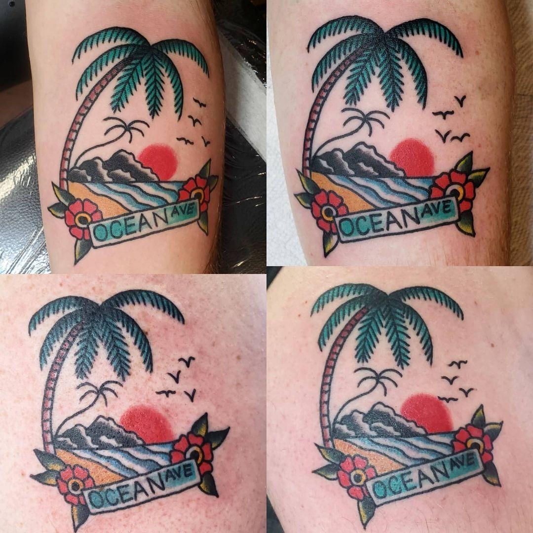 Palm tree and sunset tattoos 5