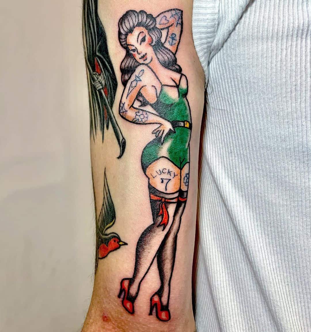 Pin-up girl tattoo 5