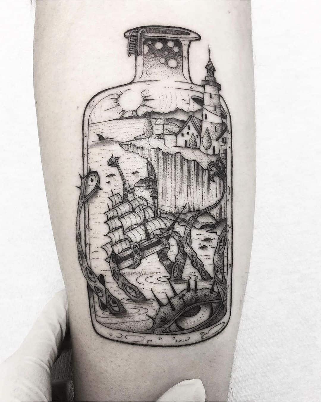 Vintage bottle tattoo 3