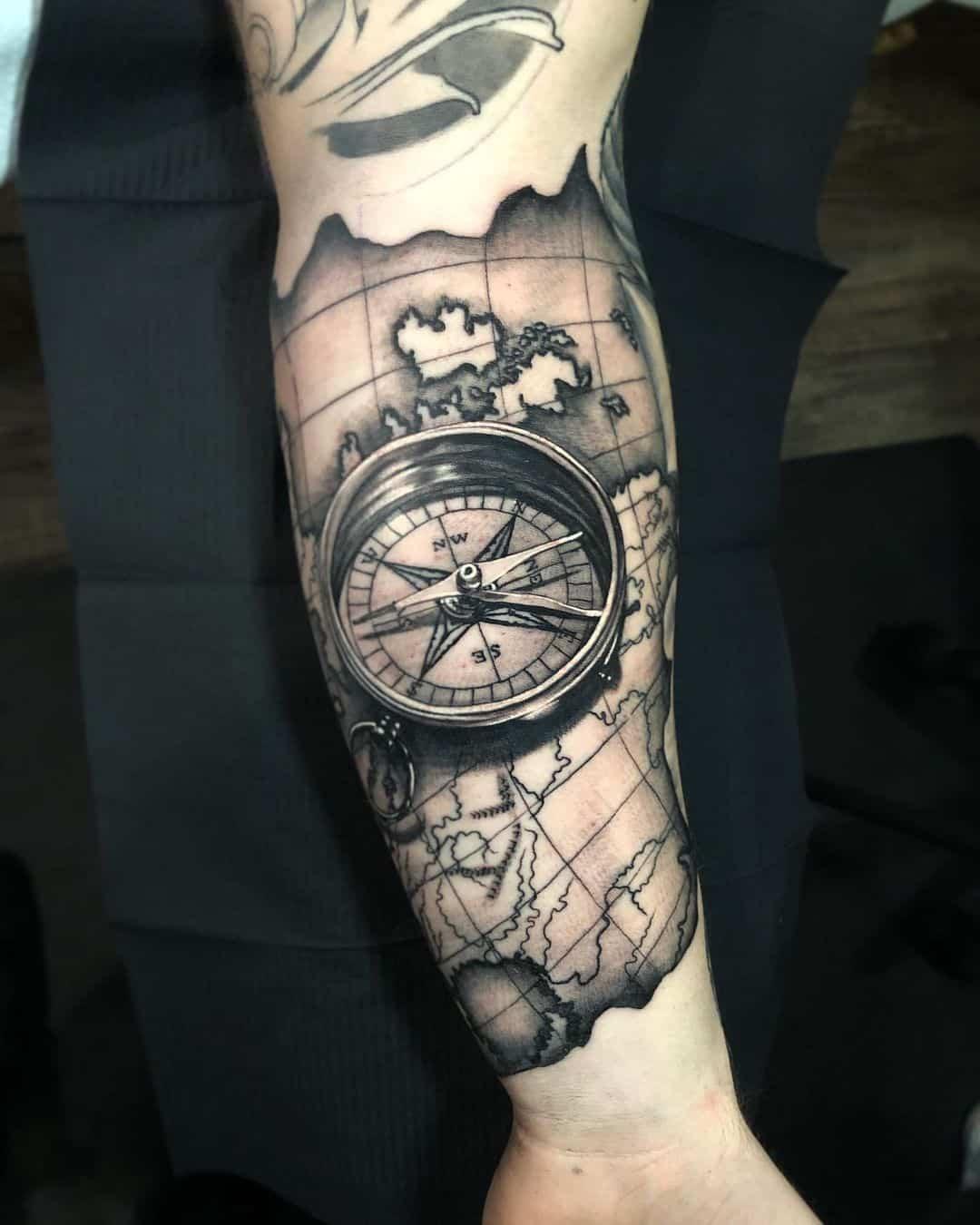 Vintage compass tattoo 1