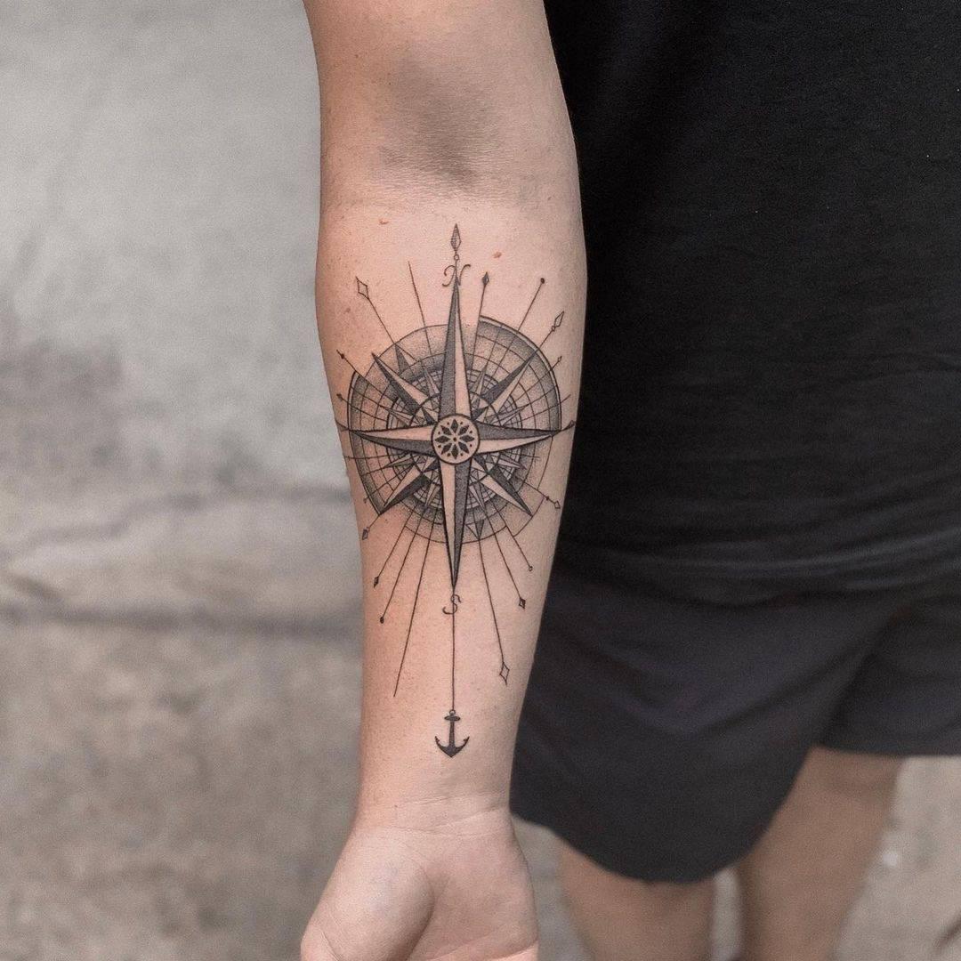 Vintage compass tattoo 2
