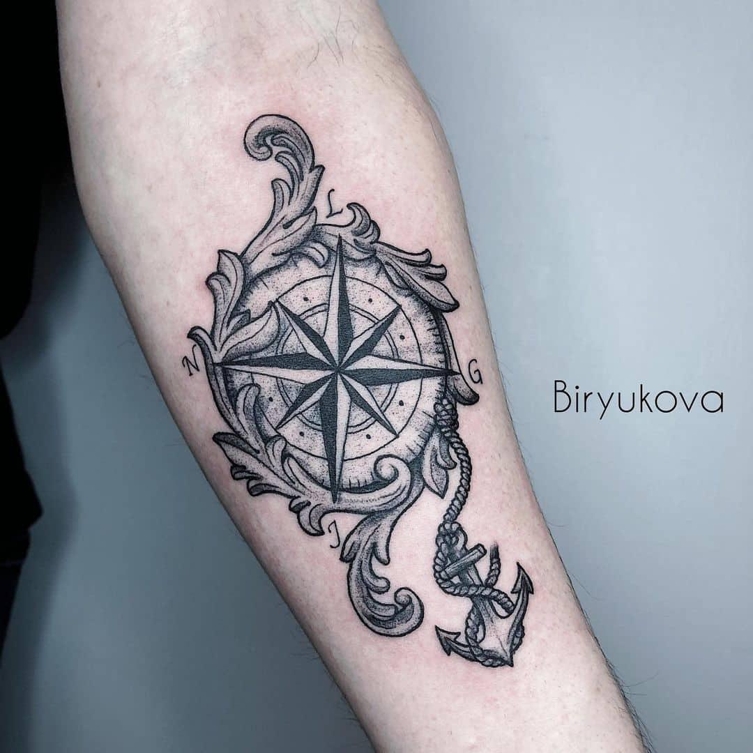 Vintage compass tattoo 3
