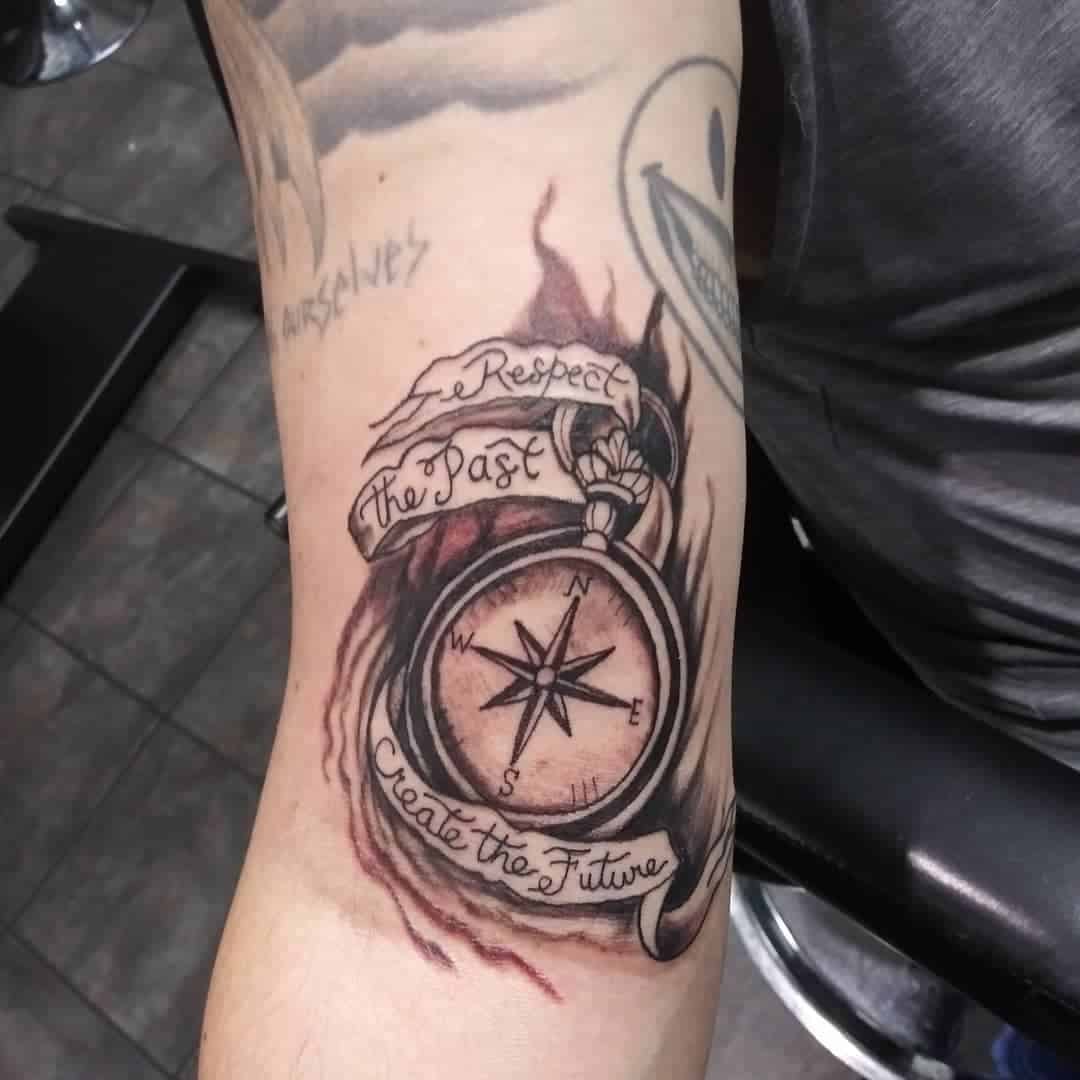Vintage compass tattoo 5