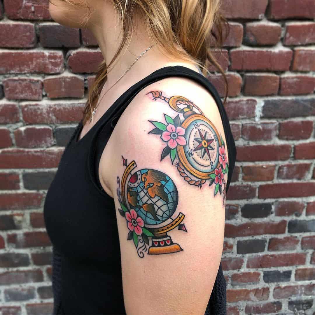 Vintage globe tattoo 1