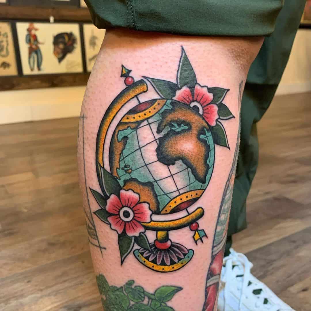 Vintage globe tattoo 2