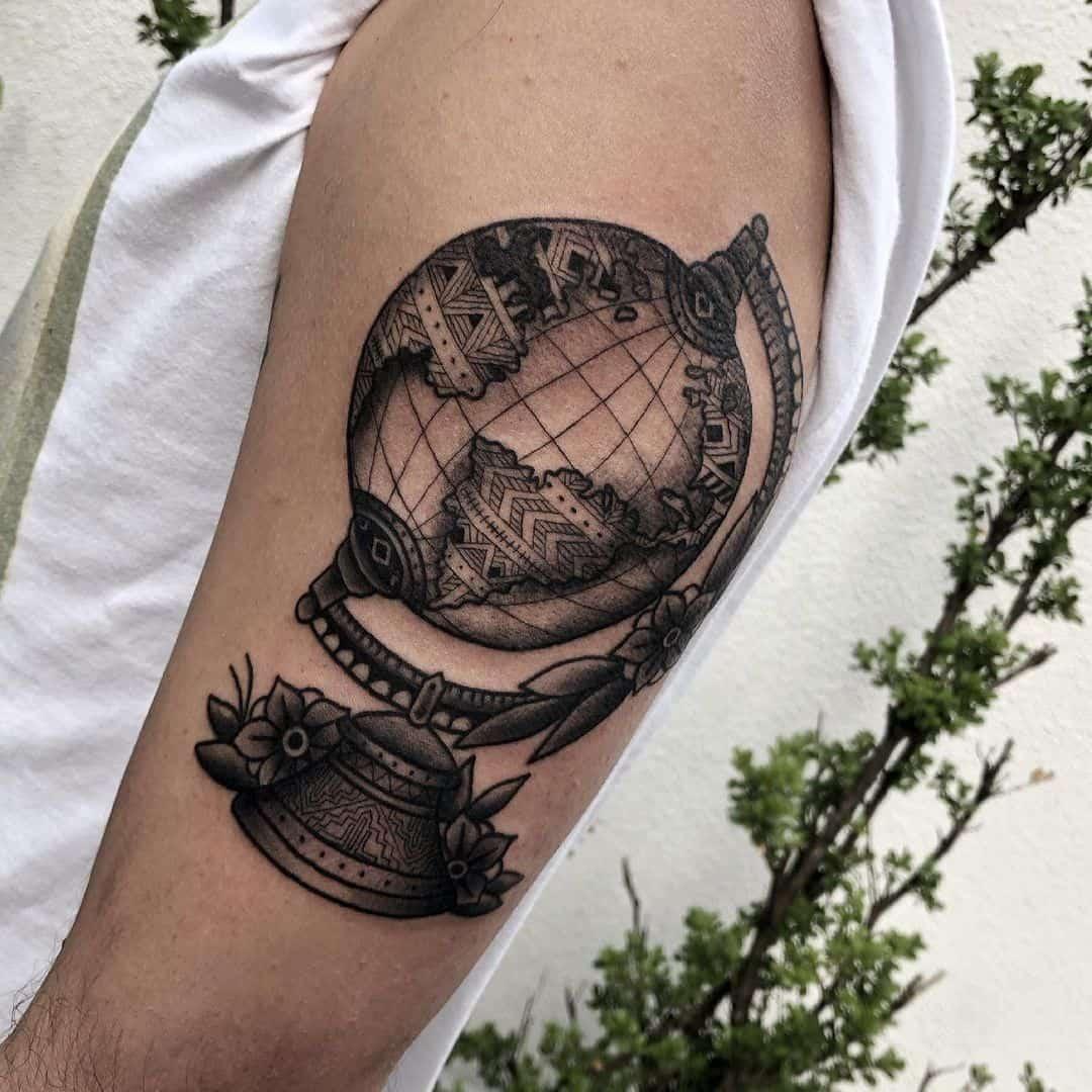 Vintage globe tattoo 3
