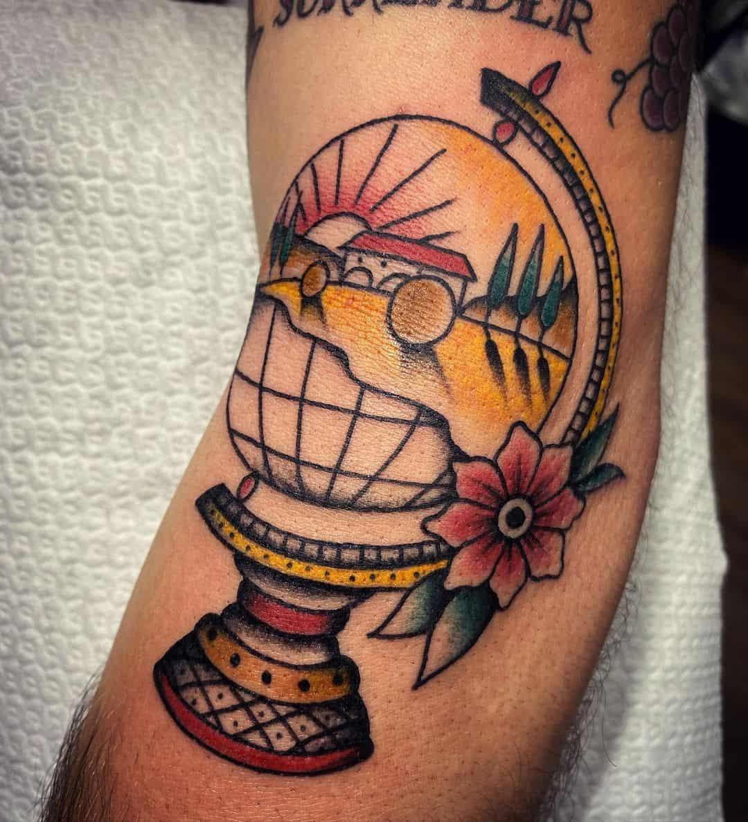 Vintage globe tattoo 5