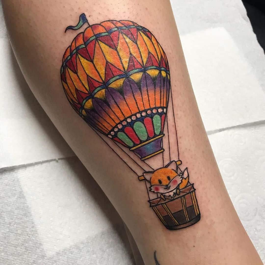 Vintage hot air balloon tattoo 2