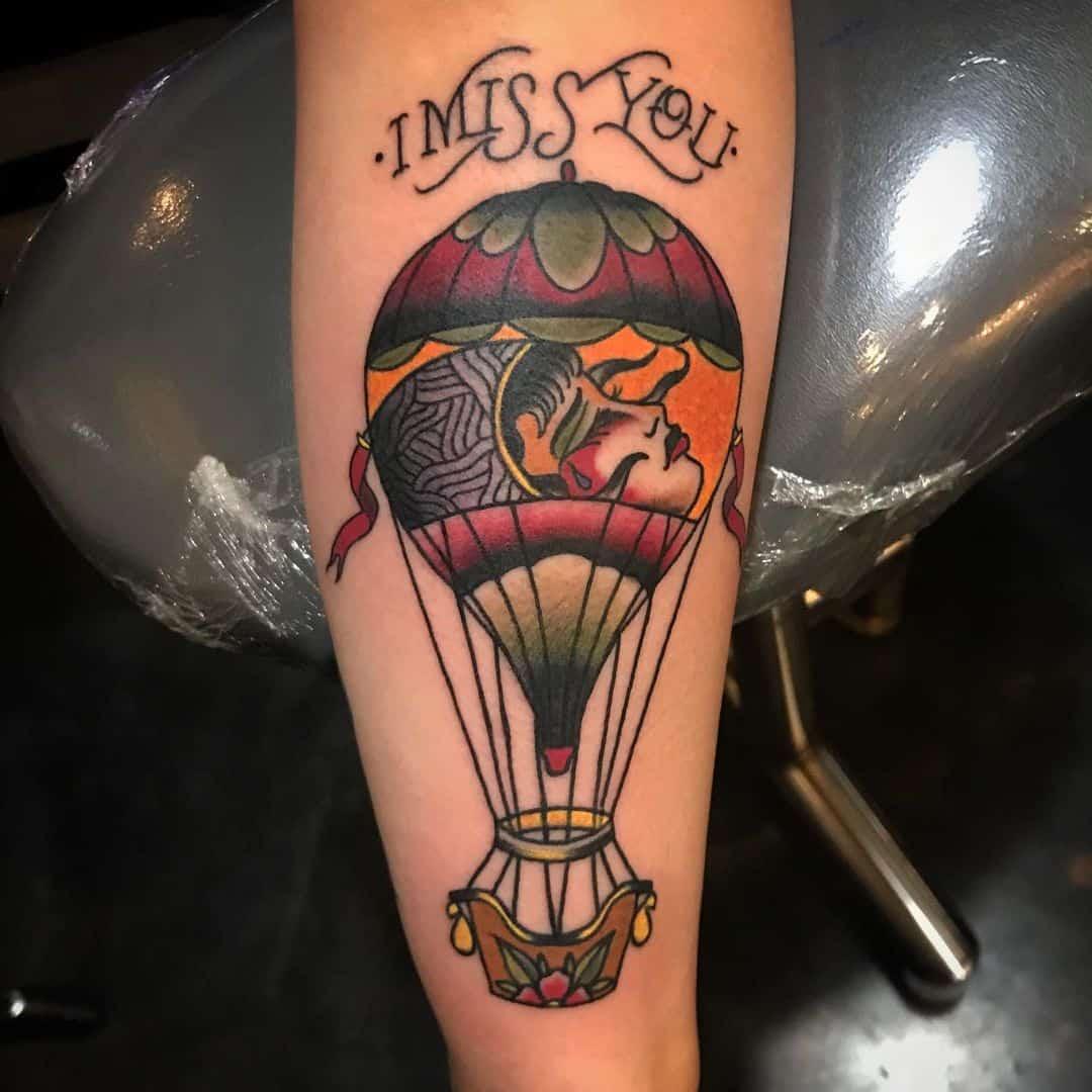 Vintage hot air balloon tattoo 3