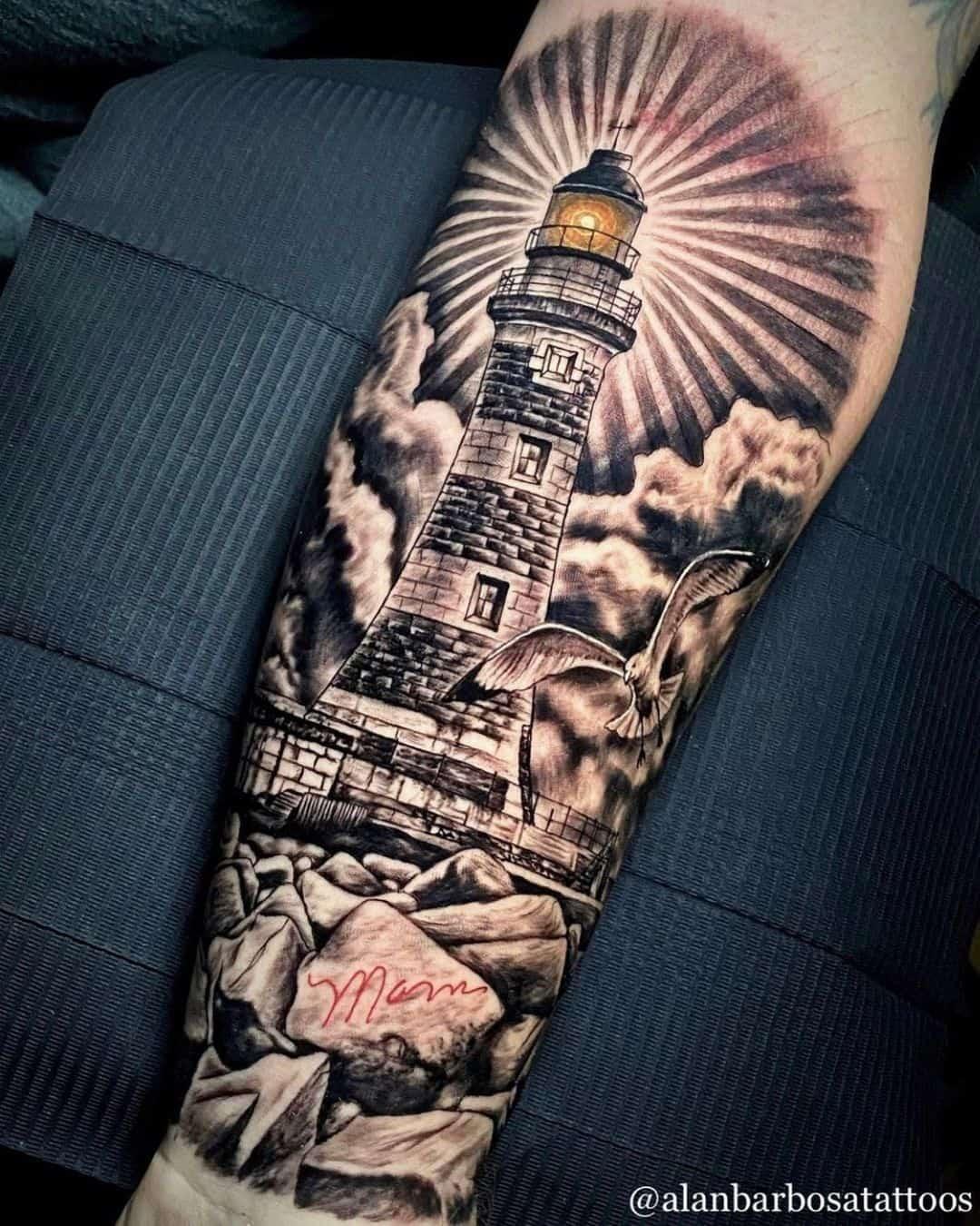 Vintage lighthouse tattoo 1