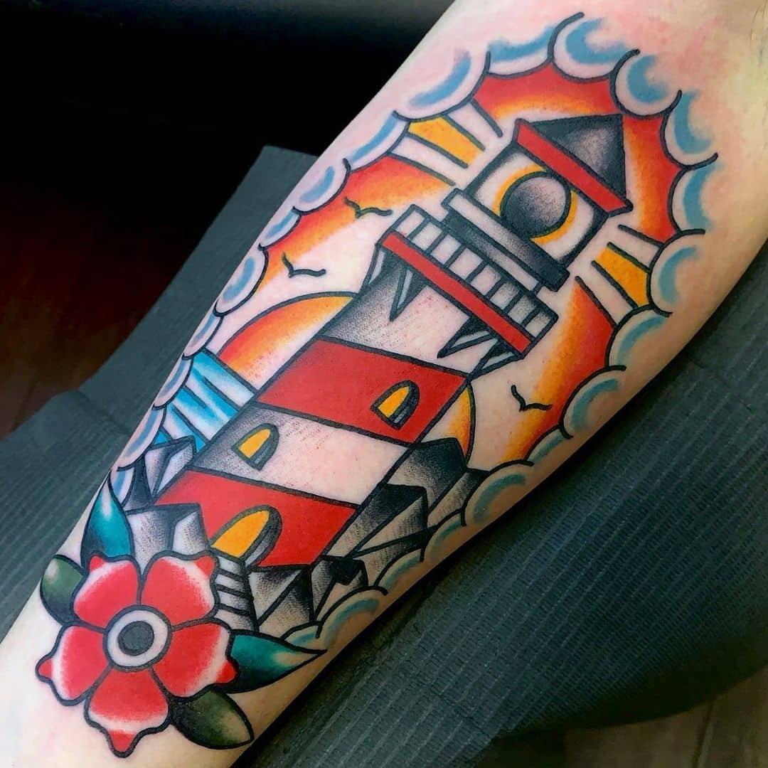 Vintage lighthouse tattoo 3