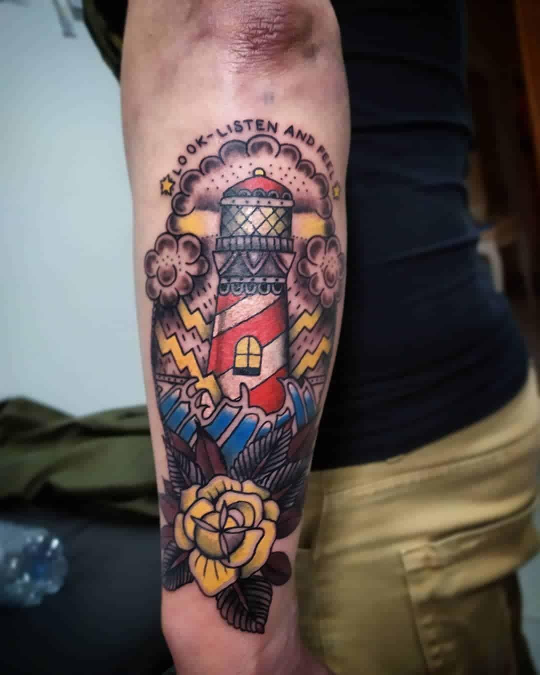 Vintage lighthouse tattoo 5