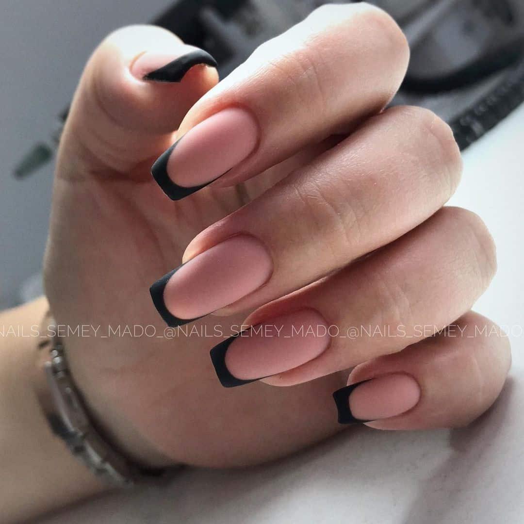 Black Matte Nails French Idea