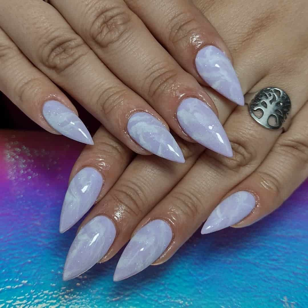 Chic Purple Stiletto Nails