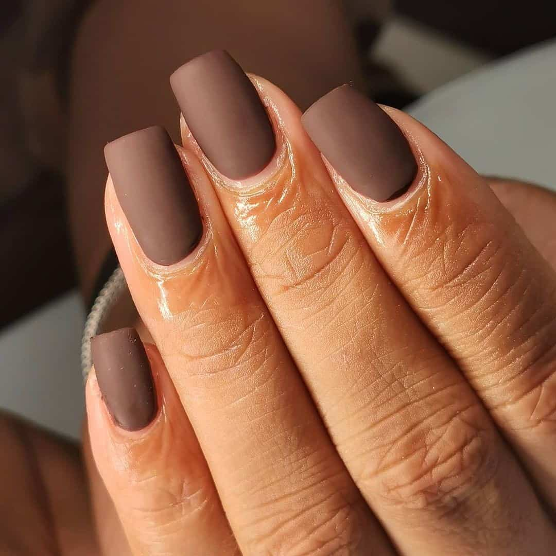 Chocolate Brown Matte Nails