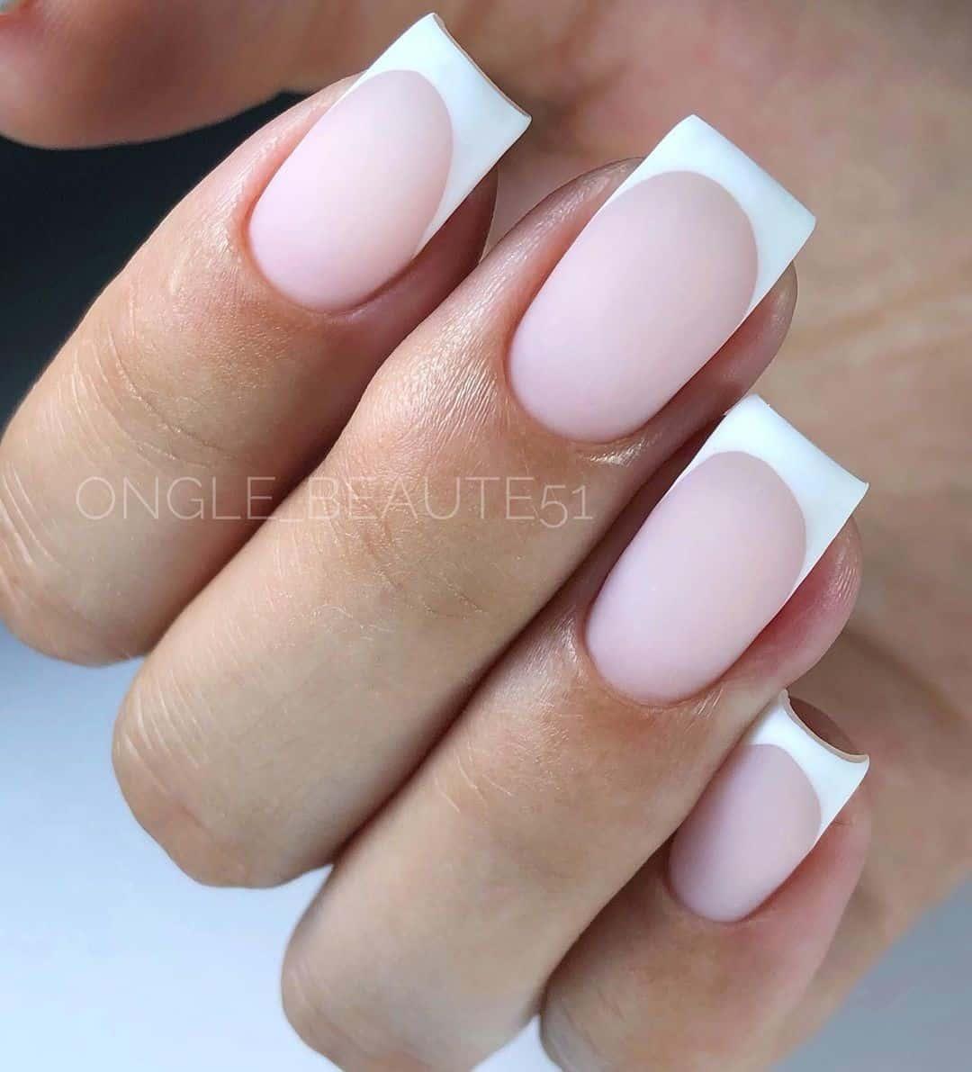 Classy French Manicure Matte Design