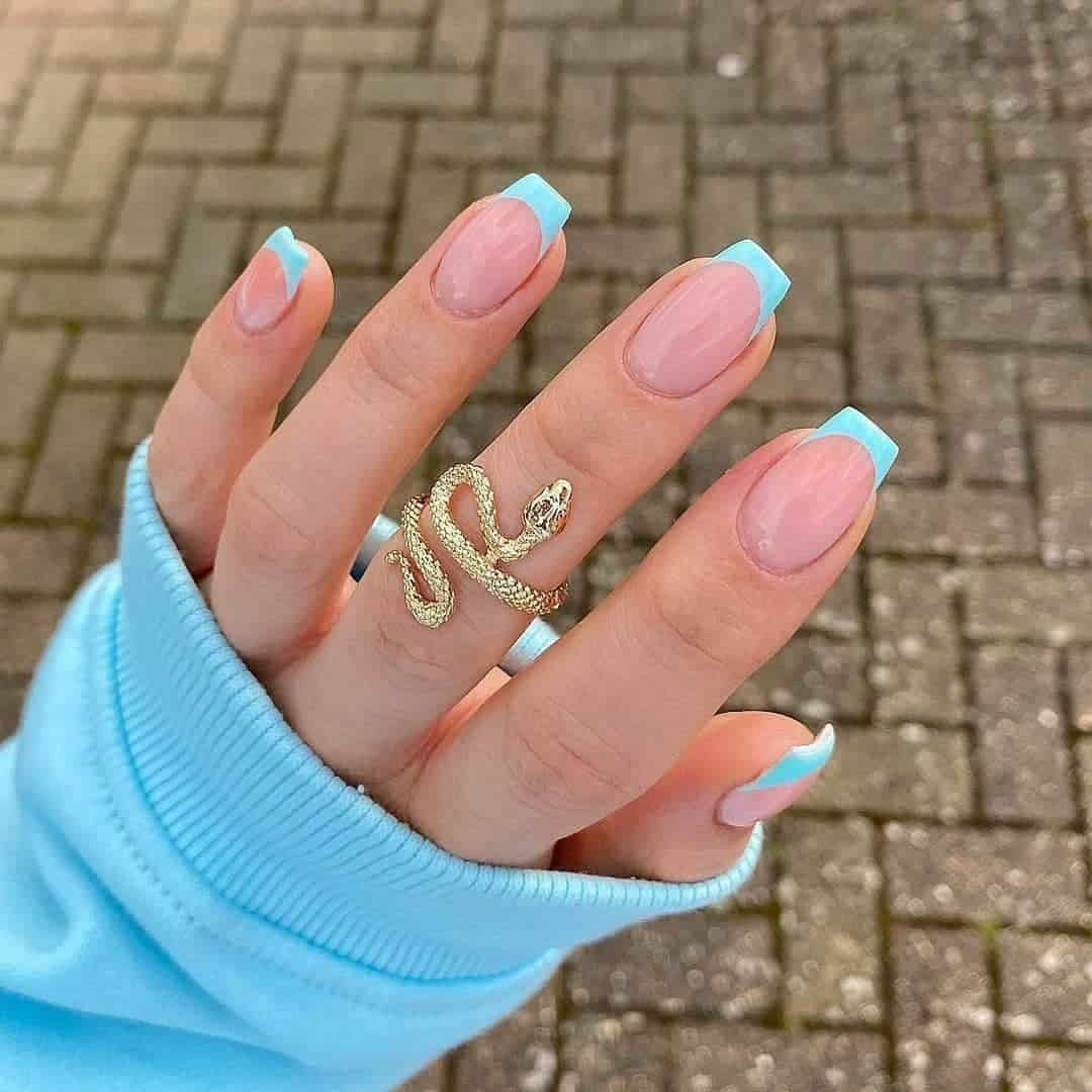 Coffin Nails Ideas Blue French Tip