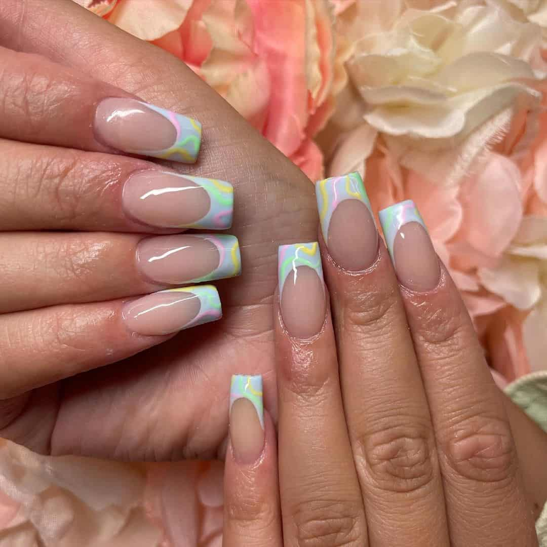 Coffin Shaped Nails Marble