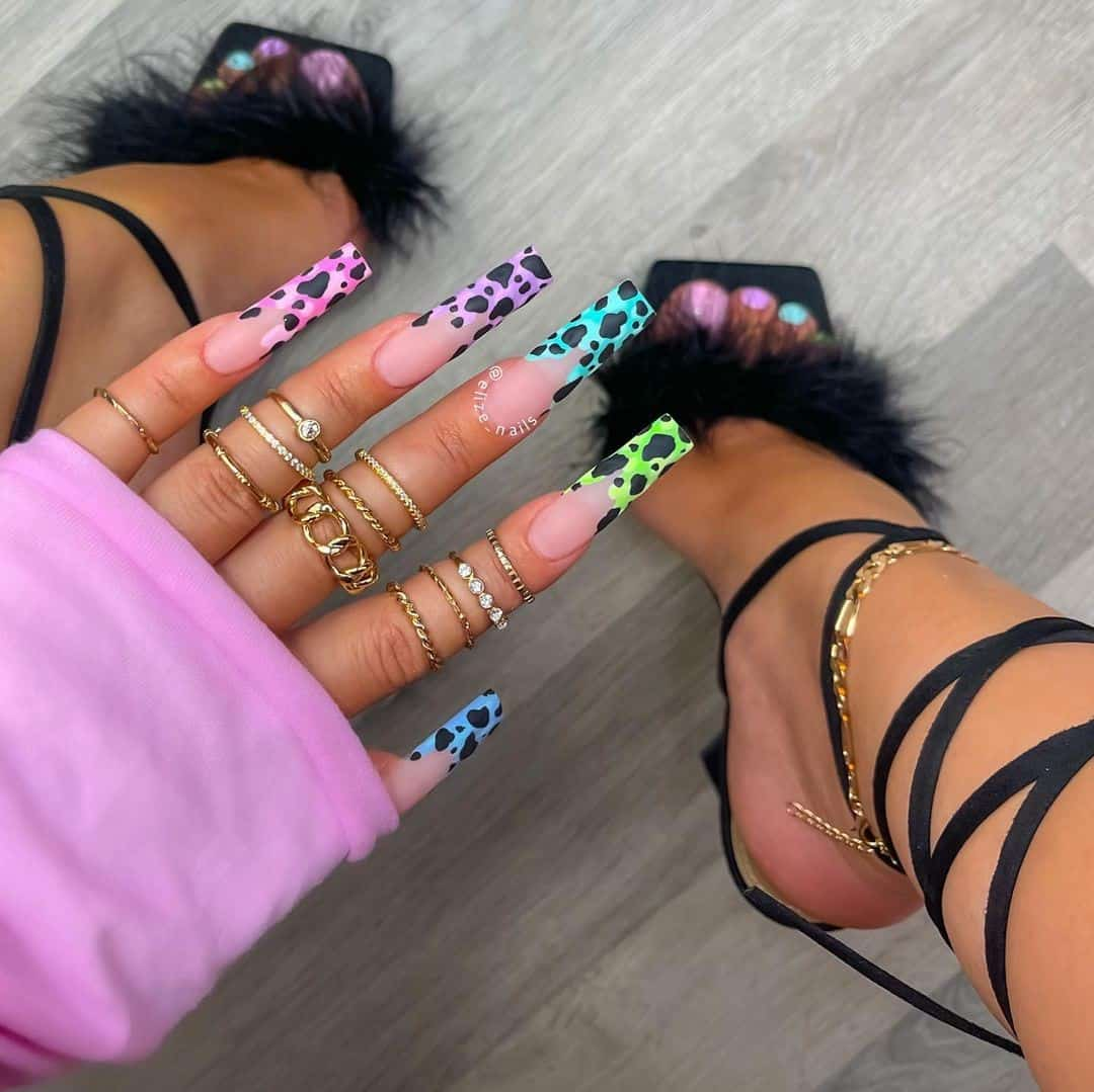 Coffin Style Nails Bright Prints