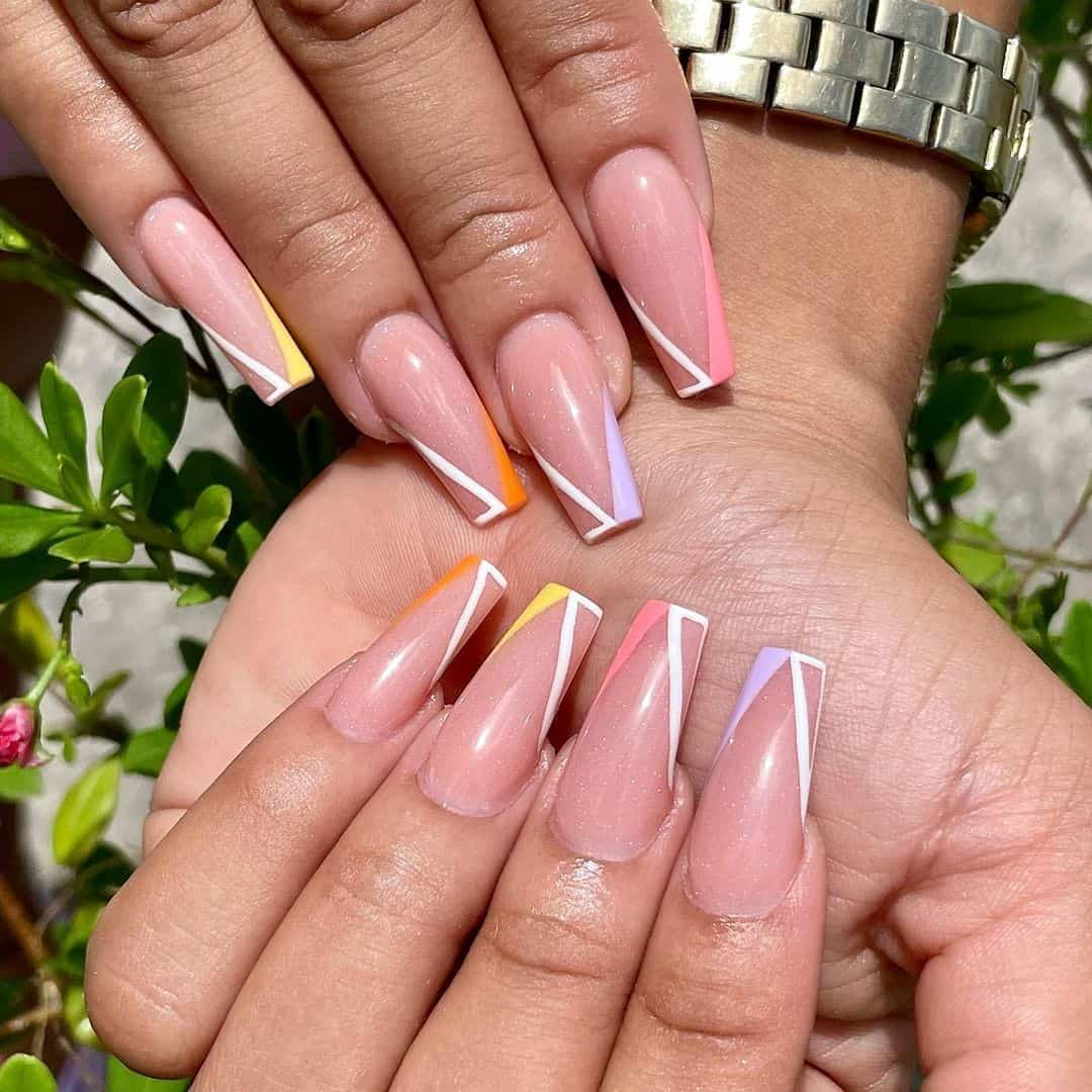 Cute Coffin Nails With French Lines
