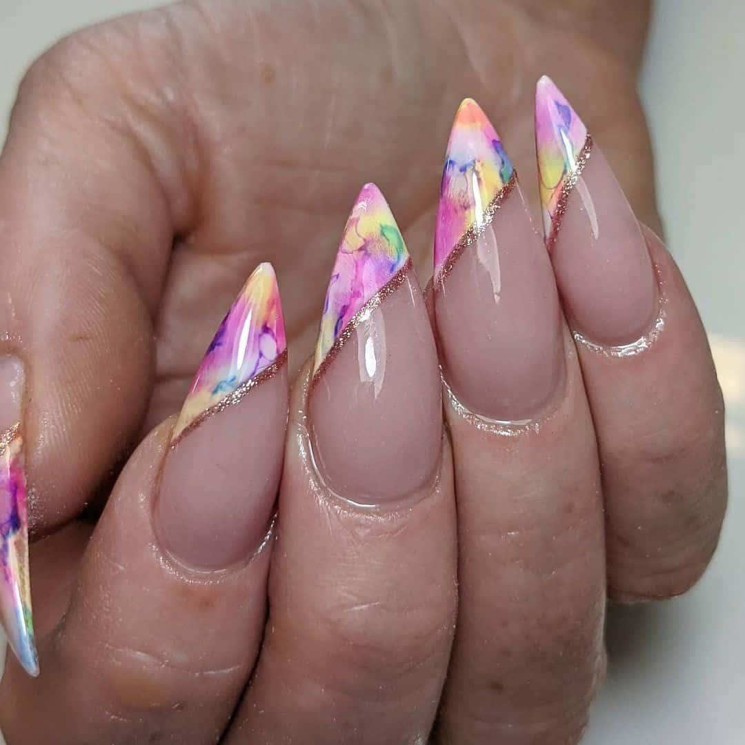 French Stiletto Nails Pink Idea
