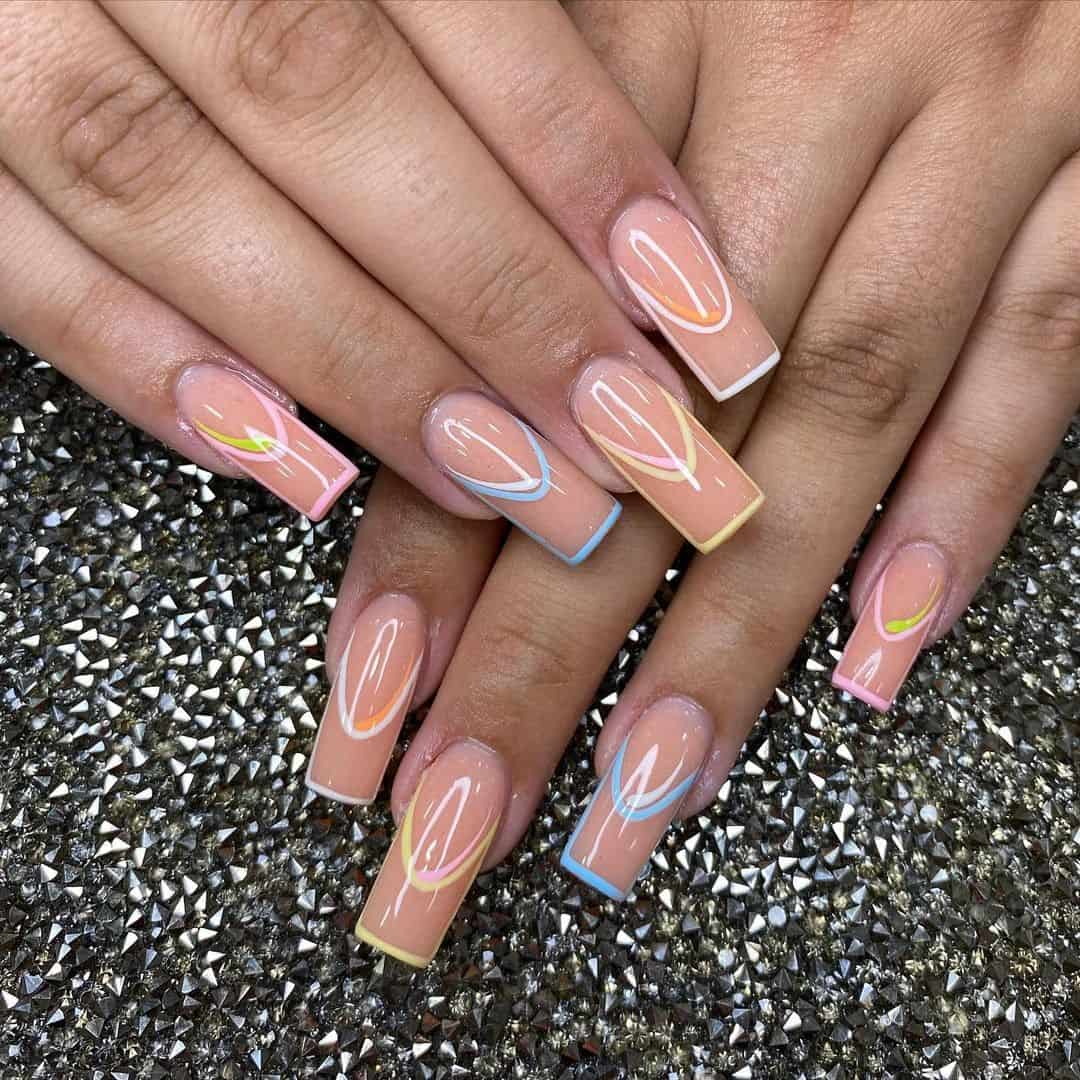 Glossy Colorful Coffin Nails