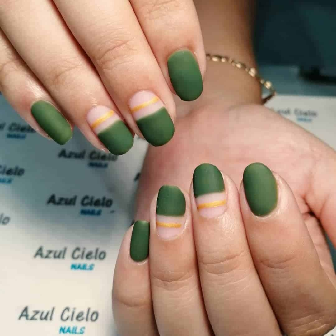 Green Nails With Yellow Pop Of Color