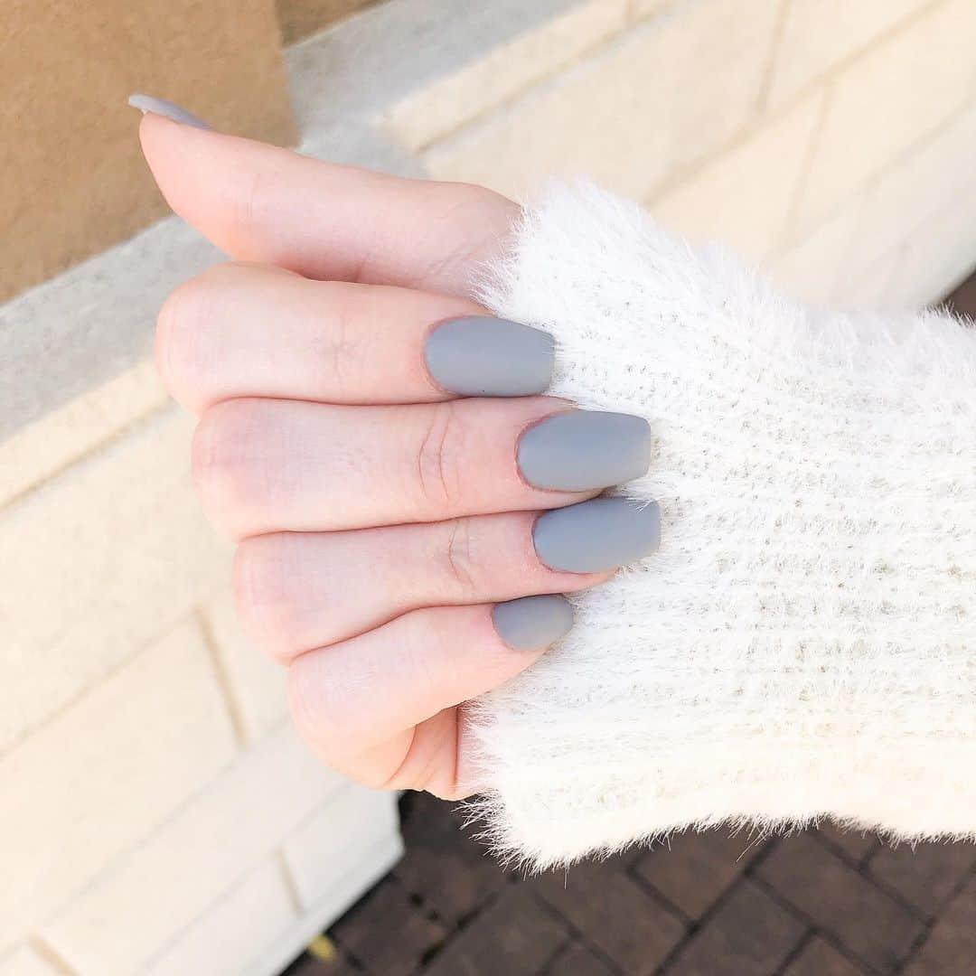 Grey Matte Nails Square Shape