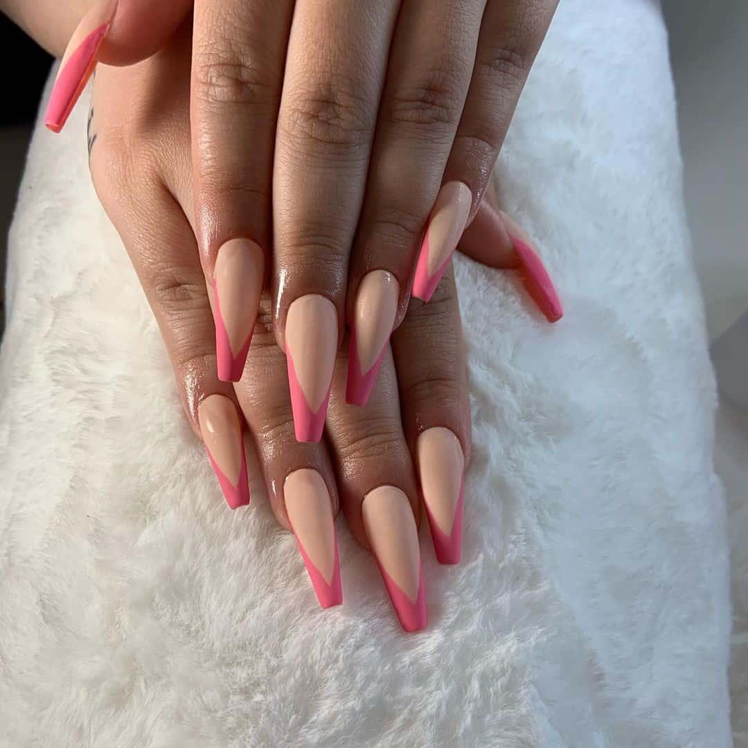 Hot French Pink Matte Manicure