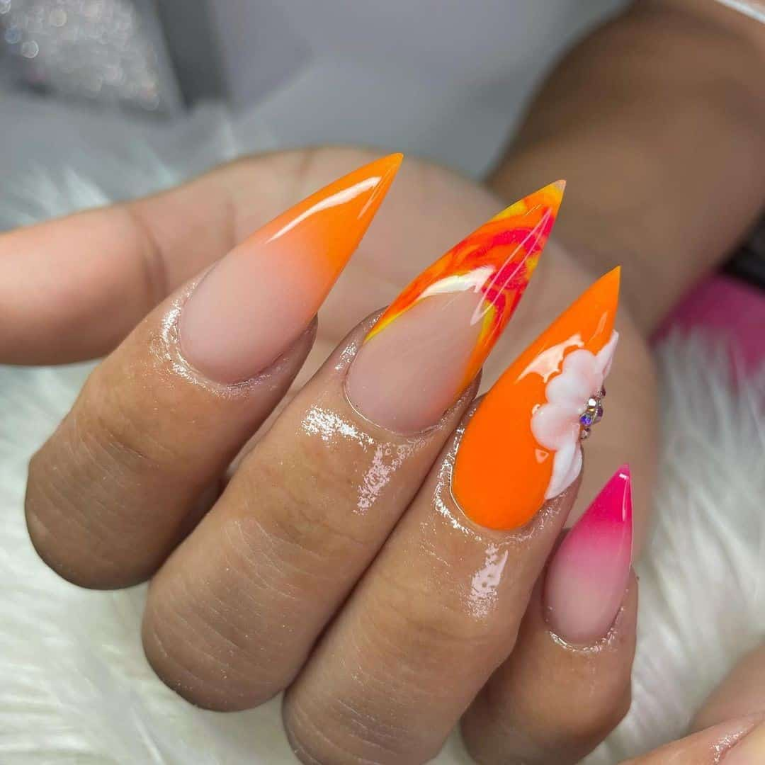 Hot Orange Stiletto Manicure