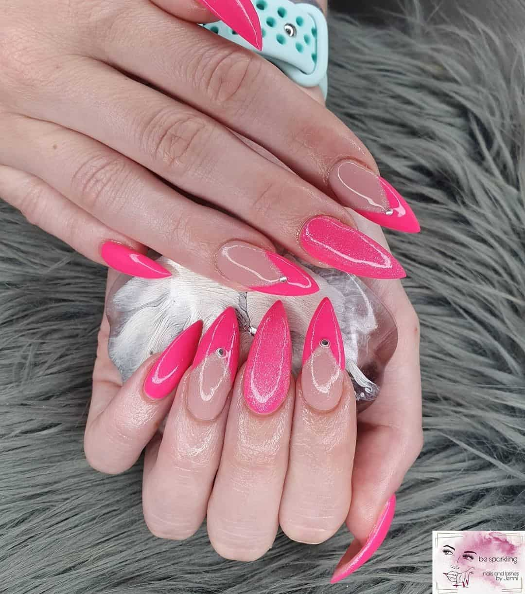 Hot Pink French Manicure Stiletto Nails