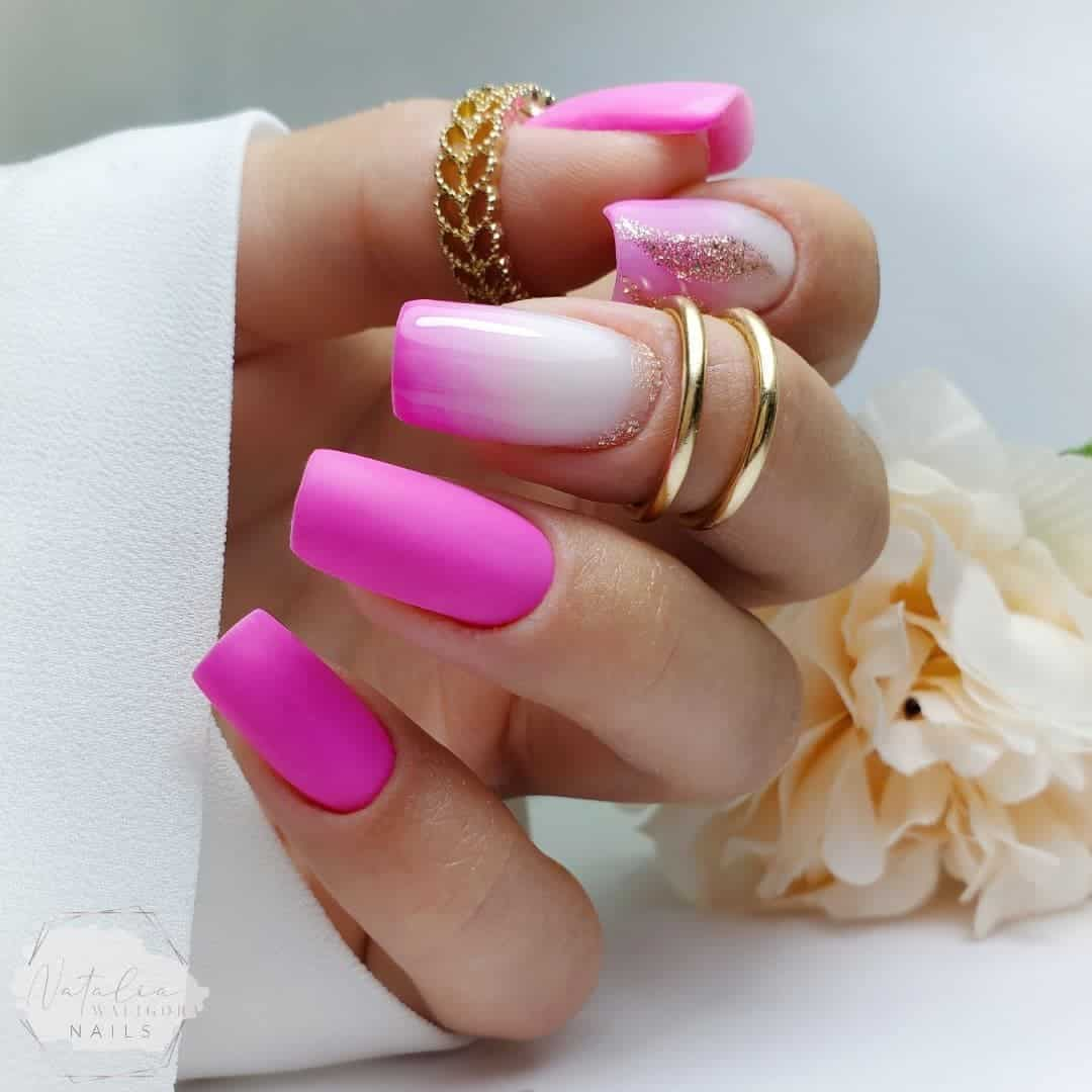 Hot Pink Matte Nails With Glitter